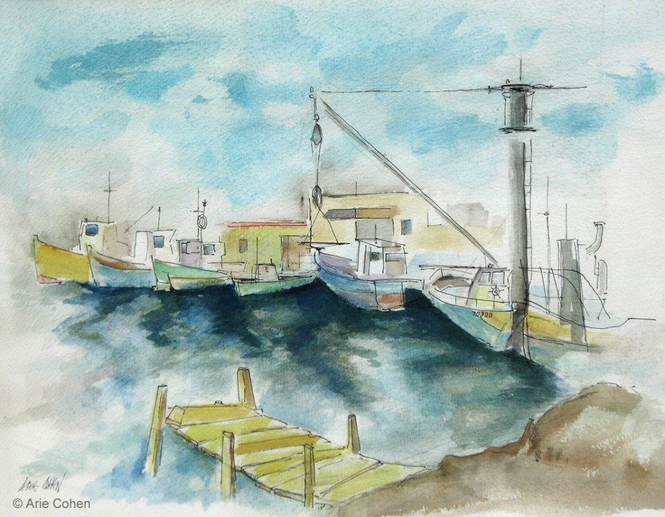Fisherman-Boats-Aquarell-by-Arie-Cohen